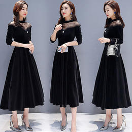 ワンピース❤韓国ドレス とってもエレガント女子なレースのブラックワンピース hdfks962051