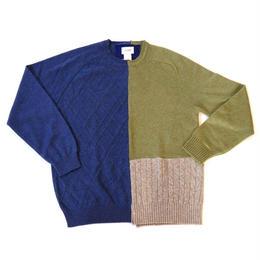 "yoused(ユーズド)/カシミヤ パッチワークセーター Size""L""(6)"
