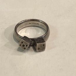 vintage dice silver ring