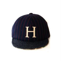 COOCHUCAMP(クーチューキャンプ)/Happy Cap ネイビーストライプ「H」