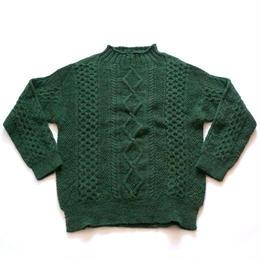 GLEN FYNE(グレンファイン)/ARAN CABLE FUNNEL ROLL PULL OVER celtic green
