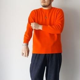 RoToTo(ロトト)/COTTON THERMAL L/S KNIT レッドオレンジ