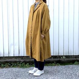 UNIVERSAL SEVEN(ユニバーサル セブン)/ Japan Linenギャバ フレアシャツドレス ブラウン