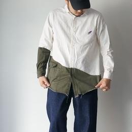 mastrkey(マスターキー)/【HORIZON】切り替えシャツ ホワイトxカーキ