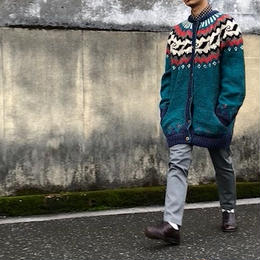hand knit sweater 総柄/Nordic柄/used/usa古着