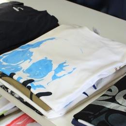 BPLJ × Leaddy フルシルクスクリーン[Swirl skull]Tシャツ マーブルプリント ブルー