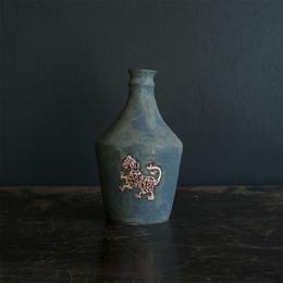 升たか 緑釉動物紋ボトル
