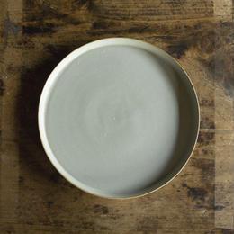 安藤由香 丸皿8寸 ブルーグレー