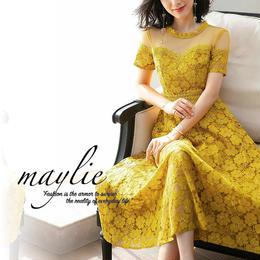 メッシュトップ 刺繍レースレイヤード ドレス