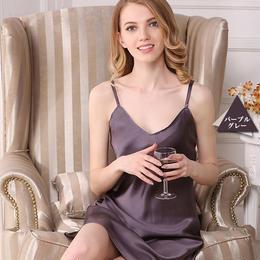 (MAYUDAMAシルク)重厚シルク スリップ 絹100% インナー キャミソール ネグリジェ レディース シンプル ベーシック <パープルグレー>