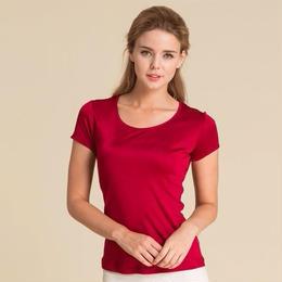 (MAYUDAMAシルク)シルク100% シルクニット 半袖 Tシャツ レディース 大きいサイズ 選べるサイズ・カラー <レッド>