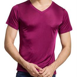 (MAYUDAMAシルク)シルク100% シルク tシャツ メンズ Vネック 通気性抜群 絹100% 半袖 無地 天然の抗菌・防臭・吸水速乾 <パープル>