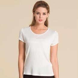 (MAYUDAMAシルク)シルク100% シルクニット 半袖 Tシャツ レディース 大きいサイズ 選べるサイズ・カラー <ホワイト>
