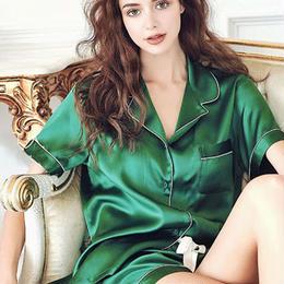 (MAYUDAMAシルク)贅沢シルク100% シルク パジャマ レディース 夏 半袖 前開き 上下セット 2ピースセット 知的でエレガント ルームウェア <グリーン>