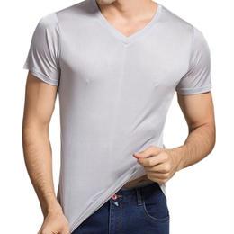(MAYUDAMAシルク)シルク100% シルク tシャツ メンズ Vネック 通気性抜群 絹100% 半袖 無地 天然の抗菌・防臭・吸水速乾 <グレー>