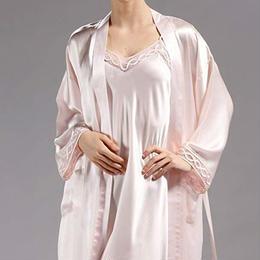 (MAYUDAMAシルク) シルク ガウン ローブ スリップ 2ピース セット 絹100% 胸元チュール レース インナー キャミソール バスローブ レディース シンプル ベーシック <ライトピンク>