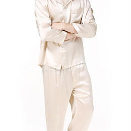 (MAYUDAMAシルク)シルク100% ピュアシルク 男性 メンズ 紳士 パジャマ 長袖 トラックスーツ ルームウェア 部屋着 上着 パンツ 2ピースセット <シャンパンベージュ>