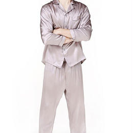 (MAYUDAMAシルク)シルク100% ピュアシルク 男性 メンズ 紳士 パジャマ 長袖 トラックスーツ ルームウェア 部屋着 上着 パンツ 2ピースセット <パープルグレー>