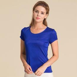 (MAYUDAMAシルク)シルク100% シルクニット 半袖 Tシャツ レディース 大きいサイズ 選べるサイズ・カラー <ブルー>