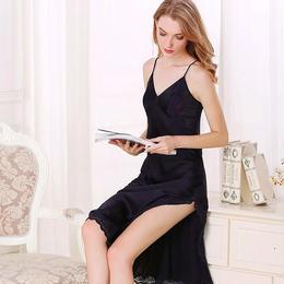 (MAYUDAMAシルク)シルク100% シルク ロングスリップ 刺繍レース Vネック ネグリジェ ハーネス ドレス ナイトドレス セクシー 優雅 エレガント <ネイビー>