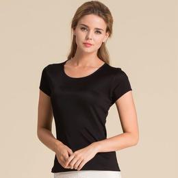 (MAYUDAMAシルク)シルク100% シルクニット 半袖 Tシャツ レディース 大きいサイズ 選べるサイズ・カラー <ブラック>