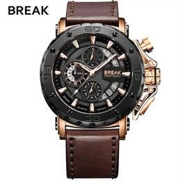 Break メンズ クォーツ腕時計 47mm 30m防水 ミリタリー