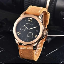parnis 自動巻 機械式腕時計 メンズ 44mm 裏スケルトン サファイアクリスタル レザーバンド