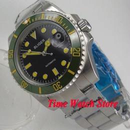 Bliger 40mm 自動巻き 機械式腕時計 メンズ 日本ミヨタムーブメント サファイアガラス セラミックベゼル グリーンベゼル×ブラックダイヤル
