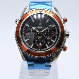 [日本未発売] SteelBagelsport 自動巻き 機械式腕時計 フルステンレス クロノグラフ ミリタリー  42mm 2色展開