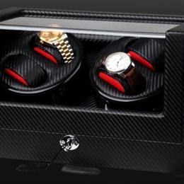 ワインディングマシン カーボン調 腕時計4個収納可能 自動巻き 静音 gc03-4