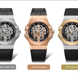 マセラティMaserati 自動巻腕時計 メンズ 機械式  レザーストラップ
