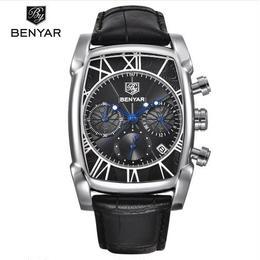 BENYAR メンズ クォーツ腕時計  クロノグラフ レザーストラップ カラバリ4色 30m防水