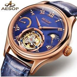 Aesop 機械式腕時計 ハイブランド トゥールビヨンスタイル クロノグラフ ローズゴールド/ブルー ムーンフェイズ
