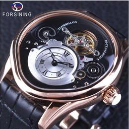 Forsining 自動巻き 機械式腕時計 トゥールビヨン ステンレス スケルトン 革バンド ブラック・ゴールド