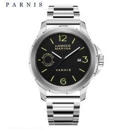 Parnis  44mm 自動機械式時計 メンズ 男性 シルバー ステンレス サファイアクリスタル ルミナスハンズ