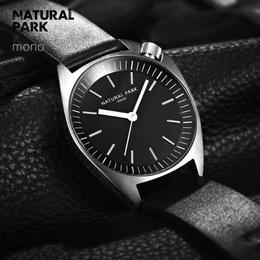 NATURAL PARK メンズ クォーツ腕時計 42mm レザー/メッシュストラップ