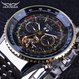 Jaragar 自動巻き 機械式腕時計 メンズ ゴールドベゼル ステンレス 50mm