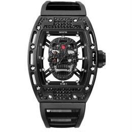 SKONE  スカル腕時計 メンズ トノー型 シリコンストラップ