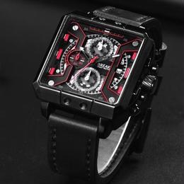 Break  クロノグラフ クォーツ腕時計 メンズ レザーストラップ