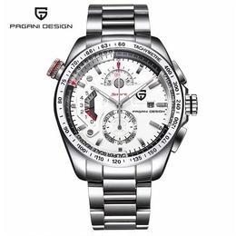 PAGANI DESING メンズ クォーツ腕時計 クロノグラフ スポーツ ブラック/ホワイト