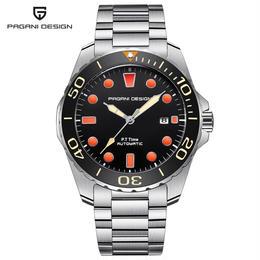 PAGANI DESIGN メンズ 自動巻腕時計 46mm ブラック/オレンジダイヤル