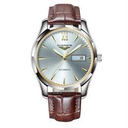 GUANQIN メンズ 自動巻腕時計 40mm レザーバンド タングステンスチール