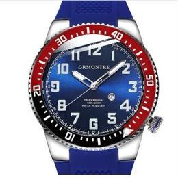 GRMONTRE メンズ クォーツ腕時計 200m防水 ラバーバンド サファイアミラー