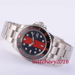 Bliger 40mm 自動巻き 機械式腕時計 メンズ サファイアガラス レッド×ブラックダイヤル セラミック