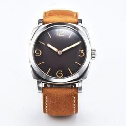 Seagull 機械式腕時計 メンズ ミリタリー ブラック レザーストラップ