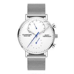 GUANQIN メンズ クォーツ腕時計 41mm クロノグラフ