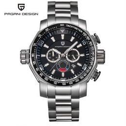 PAGANI DESIGN メンズ クォーツ腕時計 60mm クロノグラフ ステンレスバンド ミリタリー/スポーツ