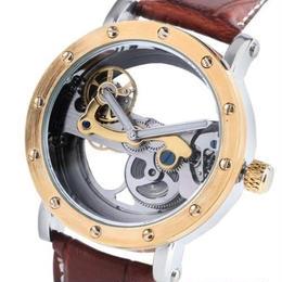 SHENHUA メンズ 機械式腕時計 自動巻 クラシック ブラックバンド 革バンド