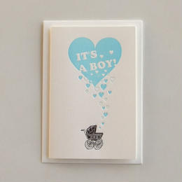 """IT'S A BOY !""男の子が産まれましたのグリーティングカード"