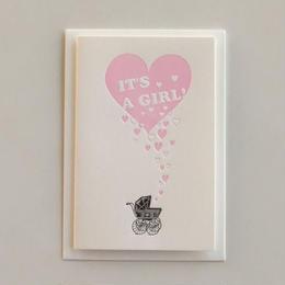 """""""IT'S A GIRL !"""" 女の子が産まれましたのグリーティングカード"""
